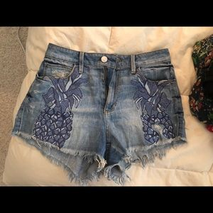 GUESS High Rise Limited Bloomingdales Patch Shorts